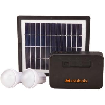 Sistem solar fotovoltaic Evotools, 2 becuri LED x1W, USB, panou solar 4W, acumulator 7.4V/2600 mA