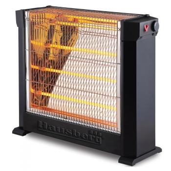 Radiator Quartz Hausberg HB8800, 2200 W, 4 Tuburi Quartz, 2 Trepte de Putere, Termostat Reglabil