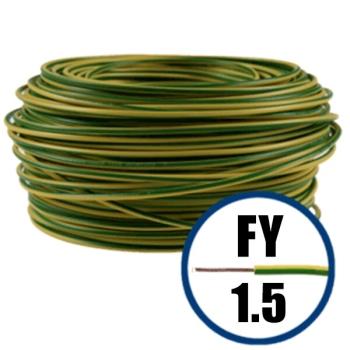Conductor Electric FY (Cupru Masiv, H07V-U) 1.5mm, Rola 100m, Verde + Galben