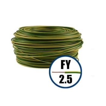 Conductor Electric FY (Cupru Masiv, H07V-U) 2.5mm, Rola 100m, Galben + Verde
