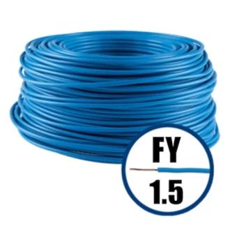 Conductor Electric FY (Cupru Masiv, H07V-U) 1.5mm, Rola 100m, Albastru