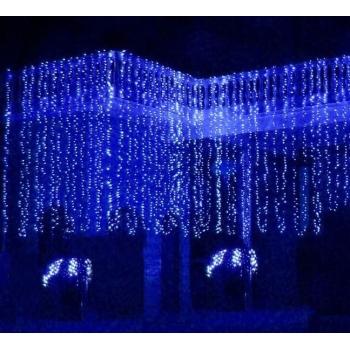 Instalatie de Craciun 3 M x 1 M, Perdea Ploaie Albastra, 132 Leduri