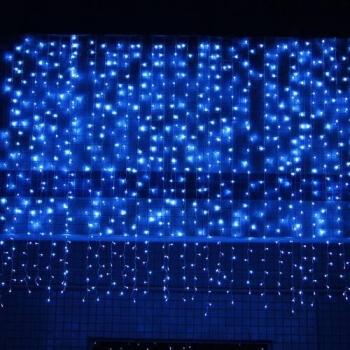 Instalatie de Craciun Perdea tip Turturi Fir Transparent 8 M X 1 M, 360 Leduri, Culoare Albastra