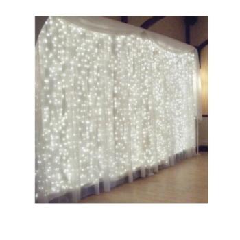Instalatie de Craciun Perdea tip Turturi Fir Transparent 3 M X 1 M, 200 Leduri, Culoare Alb Rece