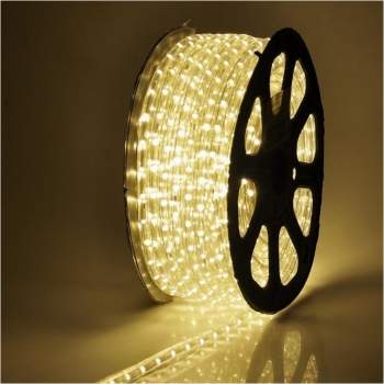 Rola Furtun Luminos cu Led Lumina Alb Cald 100 Metri + Alimentator Priza Inclus