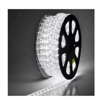 Rola Furtun Luminos cu Led Lumina Alb Rece 100 Metri + Alimentator Priza Inclus