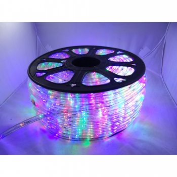 Rola Furtun Luminos cu Led Multicolor 100 Metri + Alimentator Priza Inclus