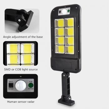 Lampa Stradala Cu Incarcare Solara Si Senzor De Miscare + Telecomanda, 160 SMD COB 8