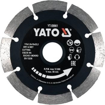 Disc Diamantat Segmentat 115X22.2X1.8mm Yato YT-59961