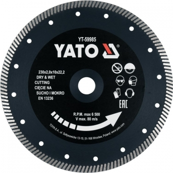 Disc Diamantat de Taiere Continuu, 230x22.2x2mm, Taiere Umeda si Uscata, Yato YT-59985