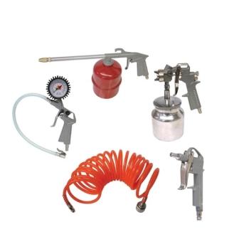 Kit Compresor Aer 5 piese, Furtun Presiune si Pistol Umflat, Lichid , Vopsitorie si Suflat Aer (AYM)