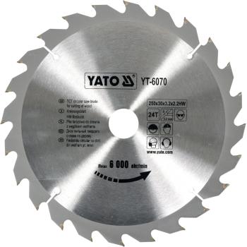 DISC CU VIDIA PENTRU LEMN YATO 250X30 MM, 24T
