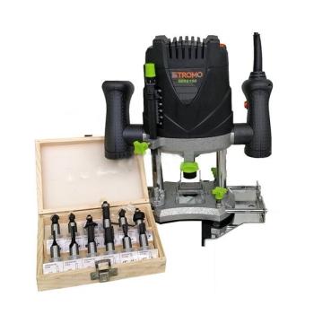 Masina de frezat Stromo SER2100, 2100 W, 16000-30000 RPM, 50 mm, control viteza + Set 12 freze pentru lemn
