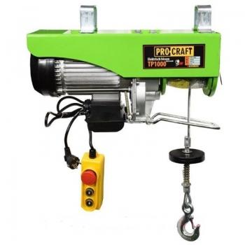 Macara electrica ProCraft TP1000 (palan electric, troliu), capacitate maxima de ridicare 1000kg, inaltime de ridicare 20m, putere nominala 1600W